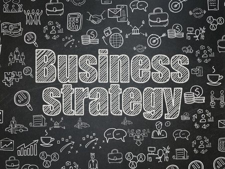 school strategy: Business concept: Chalk White text Business Strategy on School board background with  Hand Drawn Business Icons, School Board