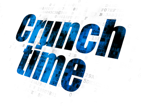 crunch: Business concept: Pixelated blue text Crunch Time on Digital background