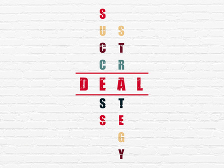 deal in: Finance concept: Painted red word Deal in solving Crossword Puzzle