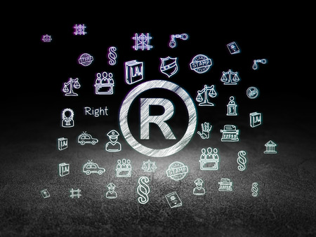 r regulation: Law concept: Glowing Registered icon in grunge dark room with Dirty Floor, black background with  Hand Drawn Law Icons