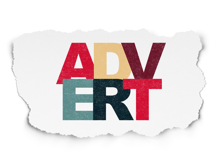 advert: Marketing concept: Painted multicolor text Advert on Torn Paper background Stock Photo