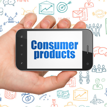 consumer products: Business concept: Hand Holding Smartphone with  blue text Consumer Products on display,  Hand Drawn Business Icons background, 3D rendering Stock Photo