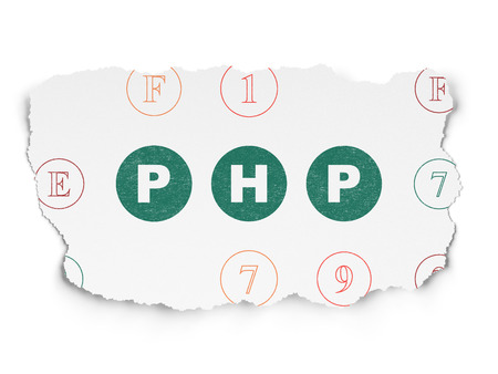 hexadecimal: Software concept: Painted green text Php on Torn Paper background with Scheme Of Hexadecimal Code