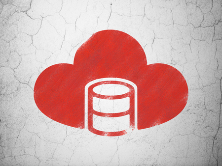 wall cloud: Cloud computing concept: Red Database With Cloud on textured concrete wall background