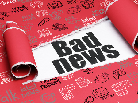red sheet: News concept: black text Bad News under the curled piece of Red torn paper with  Hand Drawn News Icons, 3D rendering