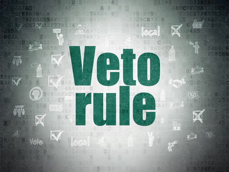 veto: Political concept: Painted green text Veto Rule on Digital Data Paper background with  Hand Drawn Politics Icons