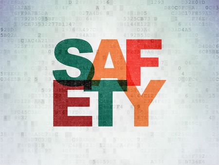 privat: Safety concept: Painted multicolor text Safety on Digital Data Paper background Stock Photo