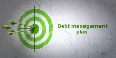 debt management: Success business concept: arrows hitting the center of target, Green Debt Management Plan on wall background, 3D rendering