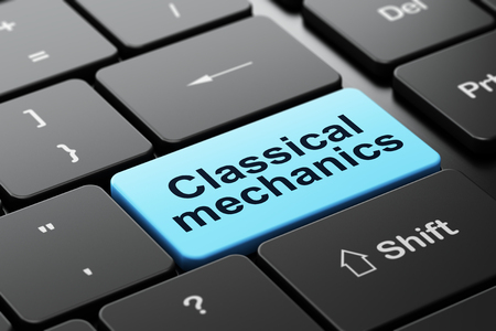 classical mechanics: Science concept: computer keyboard with word Classical Mechanics, selected focus on enter button background, 3D rendering Stock Photo