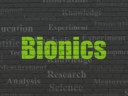 bionics: Science concept: Painted green text Bionics on Black Brick wall background with  Tag Cloud Stock Photo