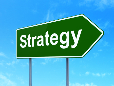 clear strategy: Business concept: Strategy on green road highway sign, clear blue sky background, 3D rendering Stock Photo