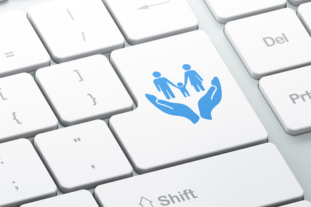 palm computer: Insurance concept: Enter button with Family And Palm on computer keyboard background, 3D rendering Stock Photo