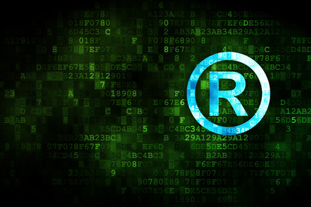 r regulation: Law concept: pixelated Registered icon on digital background, empty copyspace for card, text, advertising