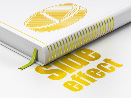 side effect: Healthcare concept: closed book with Gold Pill icon and text Side Effect on floor, white background, 3D rendering Stock Photo