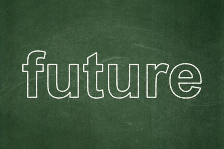 cronologia: Concepto de línea de tiempo: Futuro de texto en el fondo verde de la pizarra