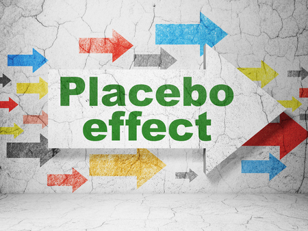 placebo: Healthcare concept:  arrow with Placebo Effect on grunge textured concrete wall background, 3D rendering