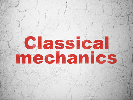 classical mechanics: Science concept: Red Classical Mechanics on textured concrete wall background Stock Photo