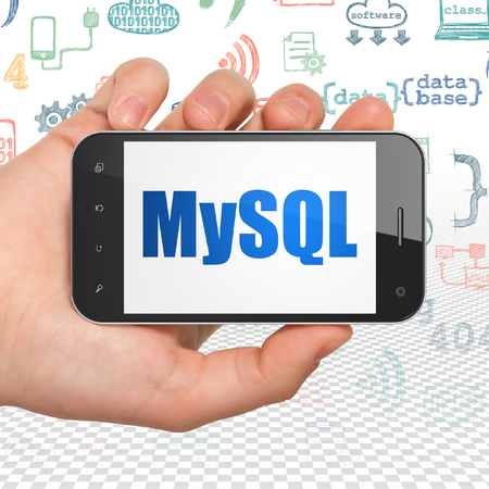 mysql: Database concept: Hand Holding Smartphone with  blue text MySQL on display,  Hand Drawn Programming Icons background, 3D rendering Stock Photo