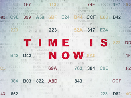 hexadecimal: Time concept: Painted red text Time is Now on Digital Data Paper background with Hexadecimal Code