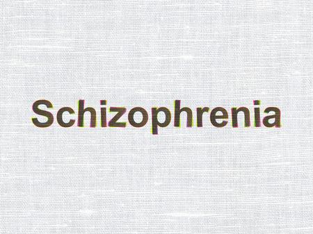 esquizofrenia: Health concept: CMYK Schizophrenia on linen fabric texture background