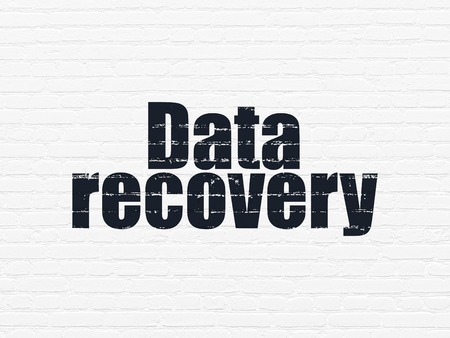 data recovery: Data concept: Painted black text Data Recovery on White Brick wall background
