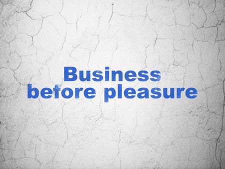 pleasure: Finance concept: Blue Business Before pleasure on textured concrete wall background Stock Photo