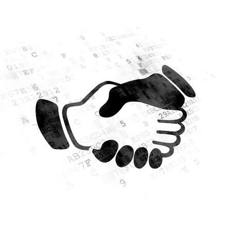 black handshake: Politics concept: Pixelated black Handshake icon on Digital background Stock Photo