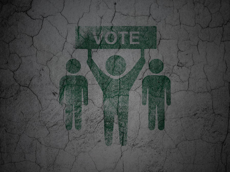 dictatorship: Political concept: Green Election Campaign on grunge textured concrete wall background Stock Photo