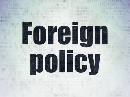 political system: Politics concept: Painted black word Foreign Policy on Digital Data Paper background