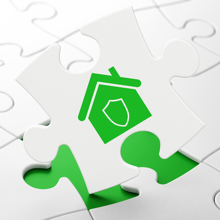 protection concept: Business concept: Home on White puzzle pieces background, 3D rendering Stock Photo