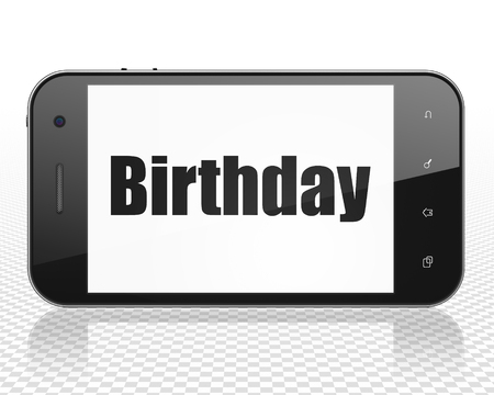 holiday display: Holiday concept: Smartphone with black text Birthday on display, 3D rendering Stock Photo