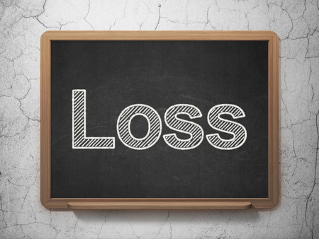 loss leader: Finance concept: text Loss on Black chalkboard on grunge wall background, 3D rendering Stock Photo