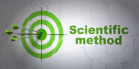 metodo cientifico: Ciencia concepto de �xito: flechas golpear el centro de destino, m�todo cient�fico verde en la pared de fondo, 3D