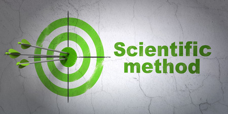 metodo cientifico: Success Science concept: arrows hitting the center of target, Green Scientific Method on wall background, 3D rendering Foto de archivo