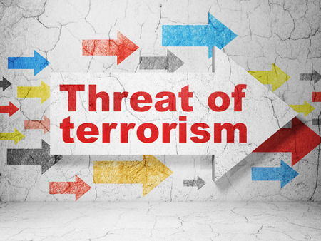 threat: Politics concept:  arrow with Threat Of Terrorism on grunge textured concrete wall background, 3D rendering