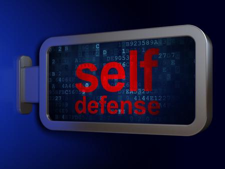 defensa personal: concepto de protección de datos: la autodefensa de la publicidad fondo cartelera, 3D Foto de archivo