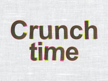 crunch: Business concept: CMYK Crunch Time on linen fabric texture background