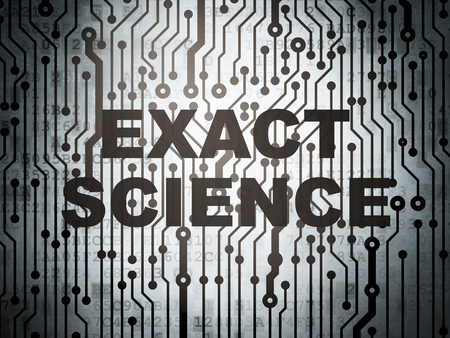 exact: Science concept: circuit board with  word Exact Science, 3D rendering
