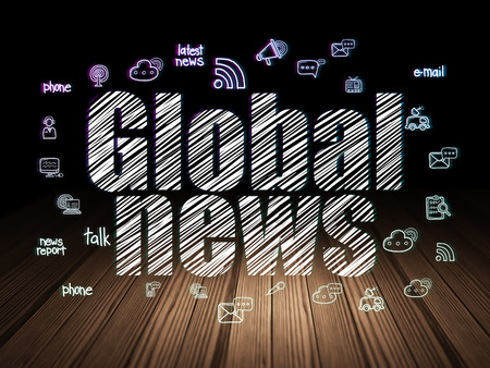 news room: News concept: Glowing text Global News,  Hand Drawn News Icons in grunge dark room with Wooden Floor, black background
