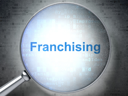 franchising: Finance concept: magnifying optical glass with words Franchising on digital background, 3D rendering