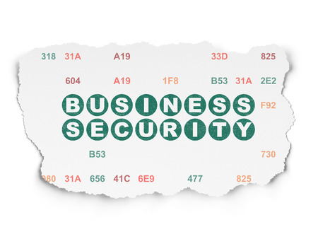 hexadecimal: Protection concept: Painted green text Business Security on Torn Paper background with  Hexadecimal Code Stock Photo