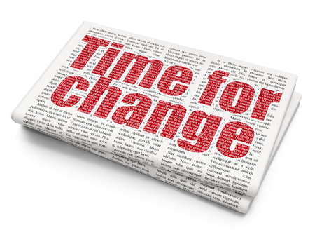 cronologia: Timeline concept: Pixelated red text Time for Change on Newspaper background, 3D rendering