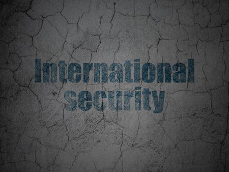 international security: Safety concept: Blue International Security on grunge textured concrete wall background