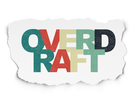 overdraft: Finance concept: Painted multicolor text Overdraft on Torn Paper background