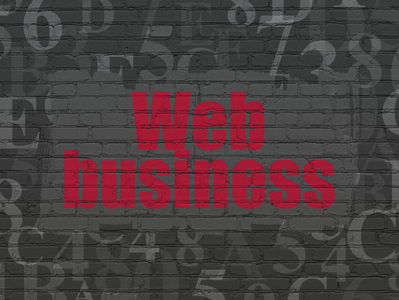 hexadecimal: Web development concept: Painted red text Web Business on Black Brick wall background with  Hexadecimal Code