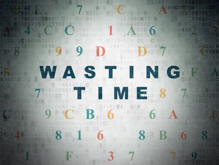 wasting: Time concept: Painted blue text Wasting Time on Digital Data Paper background with Hexadecimal Code Stock Photo