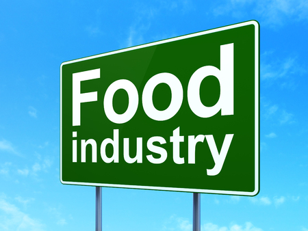 food industry: Manufacuring concept: Food Industry on green road highway sign, clear blue sky background, 3D rendering
