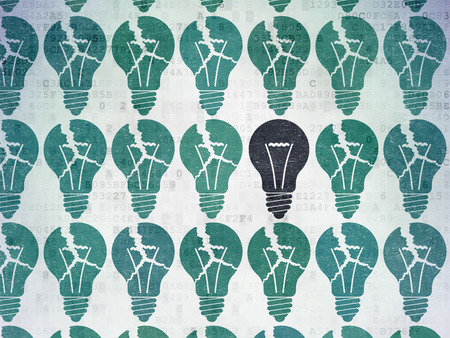 broken strategy: Business concept: rows of Painted blue light bulb icons around black light bulb icon on Digital Data Paper background