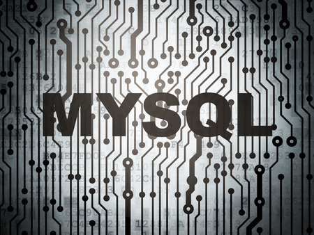 mysql: Database concept: circuit board with  word MySQL, 3D rendering Stock Photo