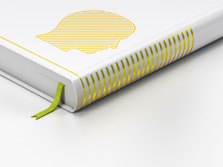 closed book: Marketing concept: closed book with Gold Head icon on floor, white background, 3D rendering Stock Photo